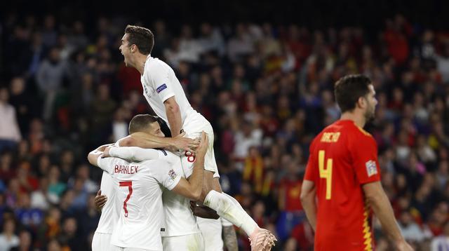 Timnas Inggris mengalahkan timnas Spanyol 3-2 dalam laga lanjutan Liga A Grup 4 UEFA Nations League 2018. (AP Photo/Miguel Morenatti)