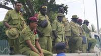 Pasukan keamanan Papua Nugini yang berjaga di sepanjang pelaksanaan KTT APEC 2018, 17-18 November 2018 (AP/Jam Morales)
