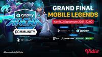 Link Live Streaming Grand Final GoPay Arena Level Up Community Mobile Legends di Vidio, Kamis 2 September 2021. (Sumber : dok. vidio.com)