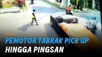 VIDEO: Abaikan Arahan Pak Ogah, Pemotor Tabrak Pick Up Hingga Pingsan