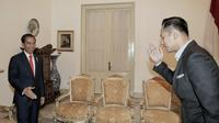 Kogasma Pemenangan Pemilu Partai Demokrat Agus Harimurti Yudhoyono atau AHY bertemu Presiden Joko Widodo atau Jokowi di Istana Merdeka, Selasa (6/3/2018). (Liputan6.com/Partai Demokrat)