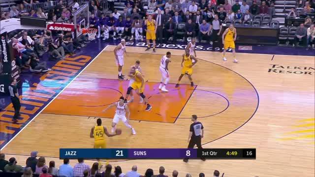 Berita video game recap NBA 2017-2018 antara Utah Jazz melawan Phoenix Suns dengan skor 129-97.