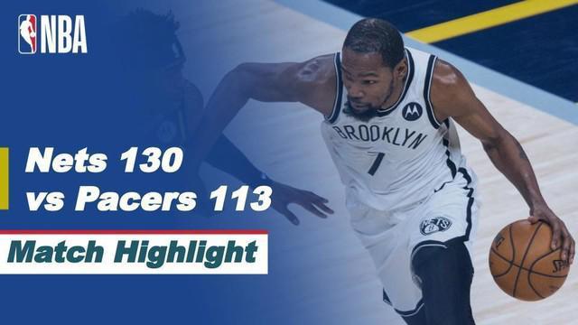 Berita video highlights laga musim reguler NBA 2020/2021 antara Indiana Pacers melawan Brooklyn Nets yang berakhir dengan skor 113-130, di mana Kevin Durant menorehkan 42 poin, Jumat (30/4/2021) pagi hari WIB.