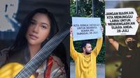 Raffi Ahmad dan Gading Marten turun ke jalan untuk mendukung penyanyi Amindana Chinika. (Instagram/@amindanac/@raffinagita1717/@gadiiing)