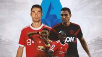 Ilustrasi - Cristiano Ronaldo, Amad Diallo, Paul Pogba, Matteo Darmian (Bola.com/Adreanus Titus)