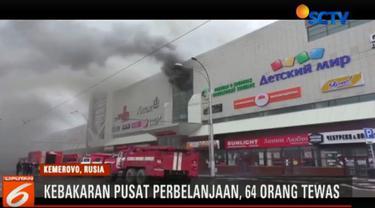 Menurut keterangan Menteri Situasi Darurat Rusia Vladimir Puchkov kebakaran maut ini merenggut 64 korban jiwa.
