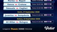 Jadwal Liga Italia Serie A 2020/2021 pekan pertama di Vidio. (Sumber: Vidio)