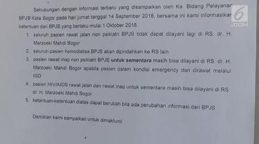 Rumah Sakit Jiwa Marzoeki Mahdi alami penurunan pasien akibat kebijakan BPJS yang tak lagi mengklaim pengobatan umum di rumah sakit khusus.