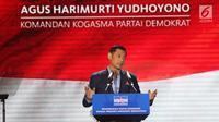 Ketua Kogasma Partai Demokrat, Agus Harimurti Yudhoyono (AHY) menyampaikan pidato politiknya di Djakarta Theater, Jakarta, Jumat (1/3) malam. Pidato mengusung Rekomendasi Partai Demokrat pada Presiden Mendatang.(Liputan6.com/Angga Yuniar)