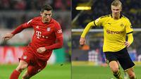 Dua striker hebat, Robert Lewandowski dari Bayern Munchen dan Erling Haaland yang memperkuat Borussia Dortmund. (INA FASSBENDER, Christof STACHE / AFP)
