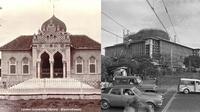 Masjid Tuban di Jawa Timur (kiri), Masjid Istiqlal Jakarta (kanan). (Twitter/@potretlawas)