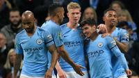 Para pemain Manchester City merayakan gol ke gawang Fulham pada putaran keempat Piala Liga Inggris, di Stadion Etihad, Manchester, Kamis (1/11/2018). (AFP/Lindsey Parnaby)