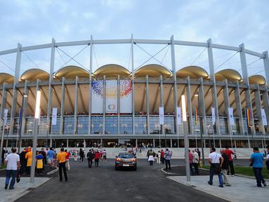 National Arena berlokasi di ibu kota Rumania, Bucharest. Di samping sebagai kandang Timnas Rumania, juga merupakan markas dari dua klub, Steaua Baucharest dan Dinamo Bucharest. (AFP/Daniel Mihailescu)