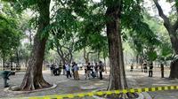 Olah TKP ledakan di Monas, Selasa (3/12/2019). (Liputan6.com/Ady Anugrahadi)