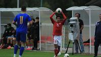 Laga uji coba antara Timnas Indonesia U-19 kontra Bosnia dan Herzegovina  dalam laga uji coba di Stadion Igraliste NK Polet, Sveti Martin na Mauri, Jumat (25/9/2020) malam WIB. (Dok. PSSI). Tim Garuda Muda kalah 0-1 dalam laga ini. (Dok. PSSI)