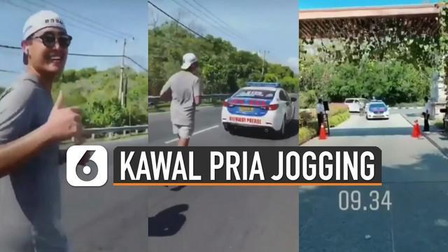 Baru-baru ini beredar video mobil polisi kawal pria jogging. Kejadian itu terjadi di Denpasar, Bali.
