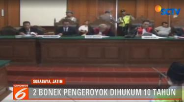 Majelis Hakim Pengadilan Negeri Surabaya memvonis terdakwa Mochammad Tiyok Dwi Septian dan Mochammad Ja'far Bin Hasyim hukuman 10 tahun penjara.