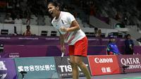 Tunggal putri Indonesia Gregoria Mariska Tunjung secara mengejutkan mengalahkan peringkat dua dunia dari Jepang Akane Yamaguchi pada partai pertama semifinal bulu tangkis beregu Asian Games 2018. (Humas PBSI)