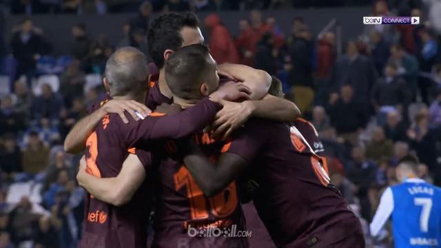 Lionel Messi menorehkan hattrick saat Barcelona mengalahkan Deportivo La Coruna 4-2. This video is presented by Ballball.