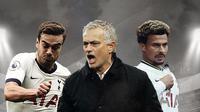 Jose Mourinho, Harry Winks dan Dele Alli. (Bola.com/Dody Iryawan)