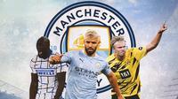 Manchester City - Romelu Lukaku, Sergio Aguero, Erling Braut Haaland (Bola.com/Adreanus Titus)