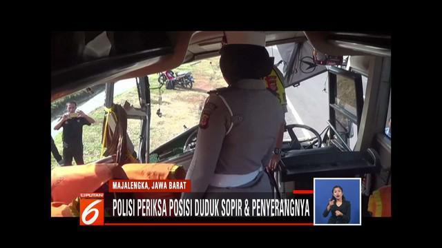 Polres Majalengka menggelar olah tempat kejadian perkaran pada kecelakaan maut bus di Tol Cipali.