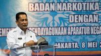 Kepala BNN, Budi Waseso memberikan sambutan saat penandatanganan Nota Kesepahaman di Kantor BNN, Cawang, Jakarta, Senin (8/5). Buwas berharap upaya kedua pihak dapat mempengaruhi sikap positif dan kinerja yang lebih produktif. (Liputan6.com/Yoppy Renato)