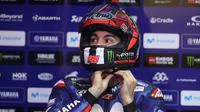 Pebalap Movistar Yamaha, Maverick Vinales, mengaku kecewa dengan setelan motornya yang belum bisa membantunya meraih podium di MotoGP Qatar. (AFP/Karim Jaafar)