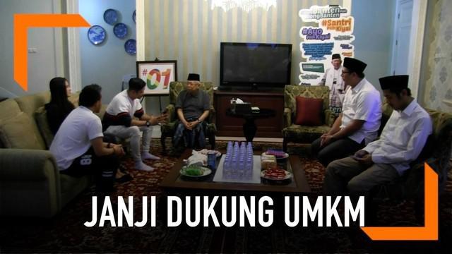 Cawapres Jokowi Ma'ruf Amin bersilaturahmi dengan artis sinetron Aldy Fairuz. Ma'ruf Amin yang masih kerabat dekat dengan Aldy Fairuz berjanji akan mendukung UMKM jika terpilih sebagai wapres.