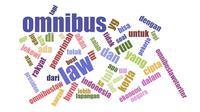 Wordcloud kata-kata dengan frekuensi tertinggi dari twit tentang omnibus law. Kredit: WordCloud by Jason Davies