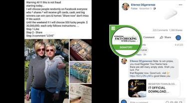 Muncul beberpa unggahan di Facebook yang menjanjikan akan memberikan hadiah kepada warganet yang konon disponsori oleh komedian dan host ternama Ellen DeGeneres.