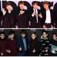 BTS dan EXO (Foto BTS: AFP / GUSTAVO CABALLERO / BBMA2017 / GETTY IMAGES NORTH AMERICA), (Foto EXO: AFP/PHILIPPE LOPEZ)