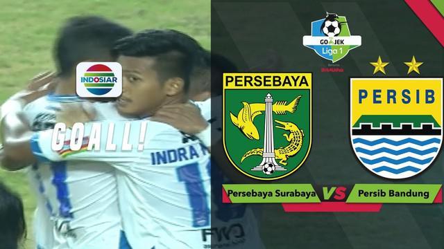 Ghozali Siregar mencetak dua gol saat Persib Bandung menghadapi Persebaya Surabaya dalam lanjutan Gojek Liga 1 2018 bersama Bukalapak.