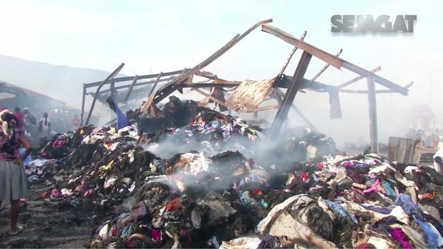 Kebakaran besar terjadi di sebuah pasar terkemuka di ibukota Haiti, Port-au-Prince.