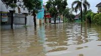 Perumahan Di Cilamaya Karawang Terendam Banjir Akibat Hujan Lebat. (Liputan6.com/Abramena)