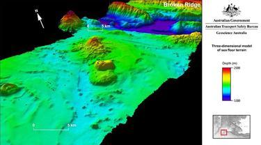 Gambar 3 dimensi dasar laut Samudera Hindia, titik pencarian MH370