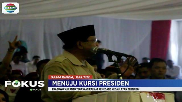 Dalam orasi politiknya, Prabowo memaparkan kedaulatan tertinggi ada di tangan rakyat.
