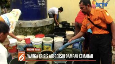 BPBD salurkan bantuan dua tangki air bersih untuk warga Cirebon, Jawa Barat.