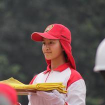 Jika Dihitung Kasar, Paskibraka Putri dari DKI Jakarta, Jessenia Sarah Aurelia, Sudah Lebih dari Enam Kali Menjajal Posisi Pembawa Baki. Ini Saat Paskibraka yang Dibilang Mirip Chelsea Islan Latihan Gabungan (Foto: M Fajri Erdyansyah)