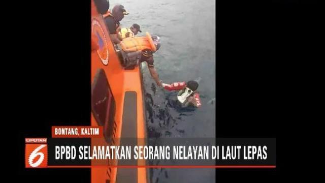 Petugas BPDB Bontang selamatkan seorang nelayan yang tercebur di laut lepas selama 14 jam.