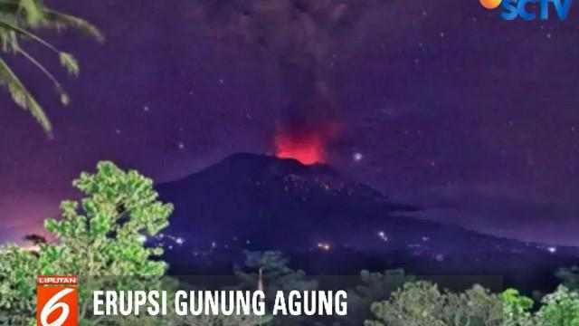 Letusan yang terjadi ini juga disertai dengan lontaran lava pijar yang nampak jelas secara visual diatas permukaan kawah Gunung Agung.