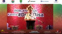Menteri Koordinator bidang Kemaritiman dan Investasi Luhut Binsar Pandjaitan saat memberikan sambutan pada acara Gernas BBI Kalimantan Timur, Selasa (12/10/2021).