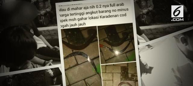 Tim gabungan di Bogor mengungkap perdagangan senjata tajam untuk tawuran yang dijual secara online.