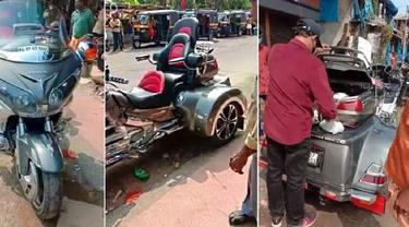 Pria mengendarai Honda Gold Wing Trike