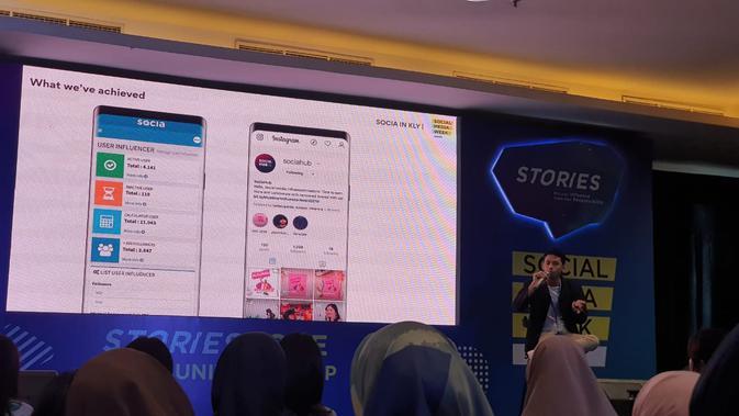 General Manager Marketing KLY Adam Saputra di acara Social Media Week Jakarta 2019. Liputan6.com/Agustin S. Wardani