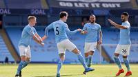 Manchester City meraih kemenangan 2-1 atas West Ham United pada laga pekan ke-26 Premier League di Stadion Etihad, Sabtu (27/2/2021) malam WIB. (AFP/POOL/Clive Brunskill)