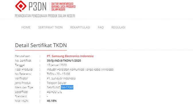 Galaxy Z Flip kantongi sertifikat TKDN. (Doc: Kemenperin)