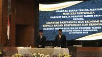 Usai dilantik Presiden Jokowi, Wishnutama melakukan upacara serah terima jabatan (sertijab) dari menteri Menteri Pariwisata dan Ekonomi Kreatif (Menparekraf) dari menteri sebelumnya, Arief Yahya. (Merdeka.com/Yayu Agustini Rahayu)