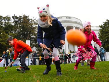 Keseruan Para Bocah Menggelindingkan Telur Paskah di Gedung Putih