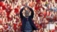 Penyerang Arsenal, Pierre-Emerick Aubameyang, berharap kehadiran manajer Unai Emery bisa membantu klubnya keluar dari zona stagnansi ketika dilatih oleh Arsene Wenger.  (AFP/Ian Kington)